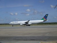 Air Namibia flight arriving from Germany